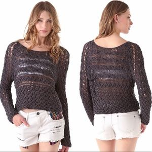 Free People Charcoal Marigold Pullover Sweater